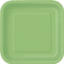 "Square Lime Green Plates - 9"" Square Plates (14pcs)"
